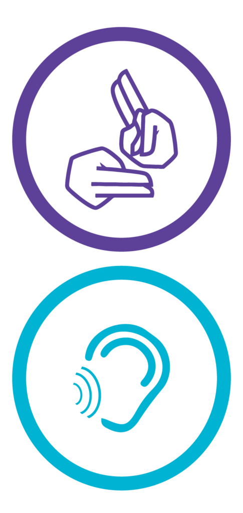 Icons for sign language and for hearing loss, both in circles.